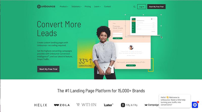 unbounce b2b website design