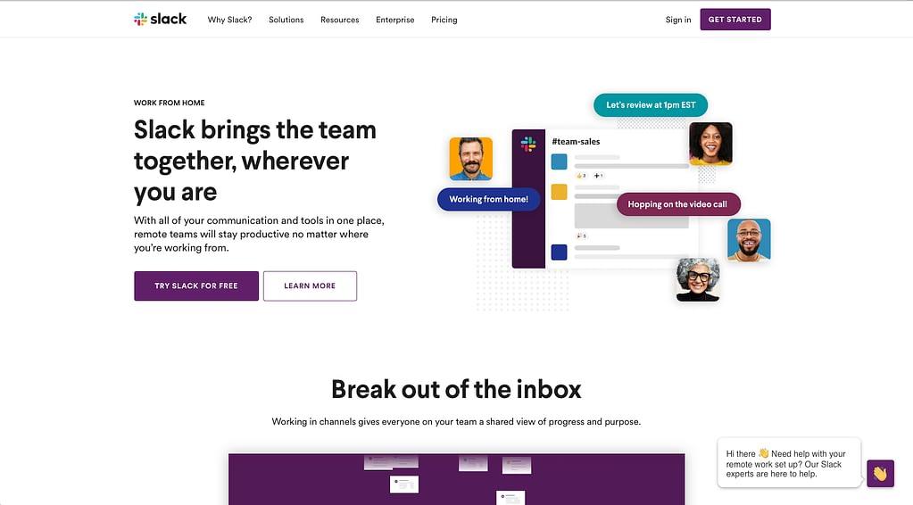 slack b2b website design
